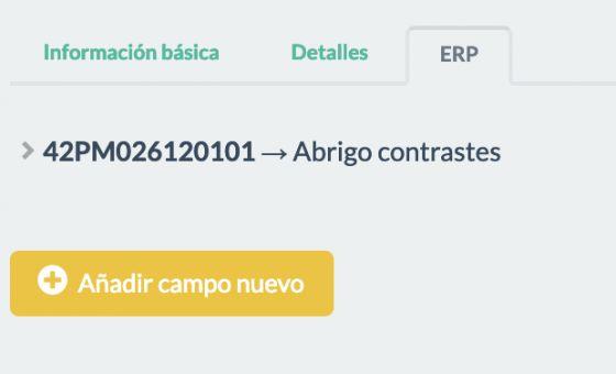 """Ejemplo página """"ERP"""" en el formulario de los """"Productos"""""""