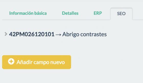 """Ejemplo página """"SEO"""" en el formulario de los """"Productos"""""""