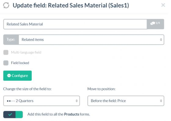 Establishing a relationship with a Sales Material Table.