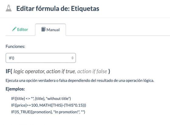 Edición fórmulas en un canal de salida. Es posible testear su funcionamiento, incluso eligiendo un producto concreto para usar datos reales.